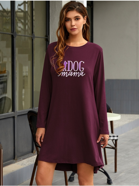 Dresswel Women Dog Mama Letter Graphic Print Round Neck Long Sleeve Mini Dress
