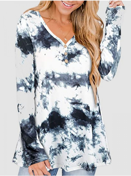Dresswel Women Tie Dye Printed V Neck Long Sleeve Buttons Down Loose Casual Blouse Tops