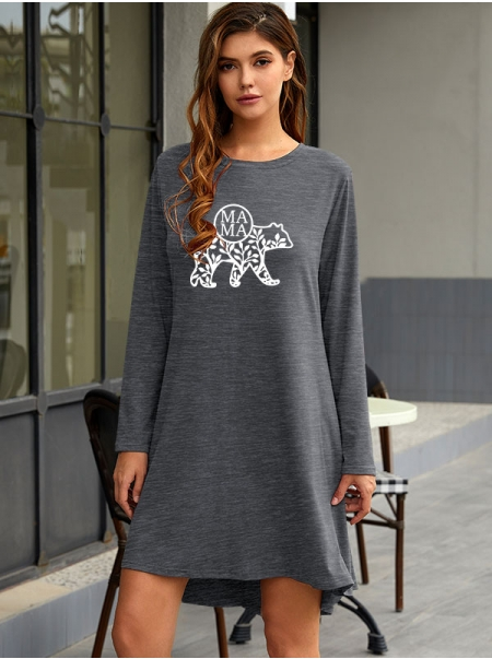 Dresswel Women Mama Letter Branch Leaves Bear Print Long Sleeve Crew Neck Mini Dress
