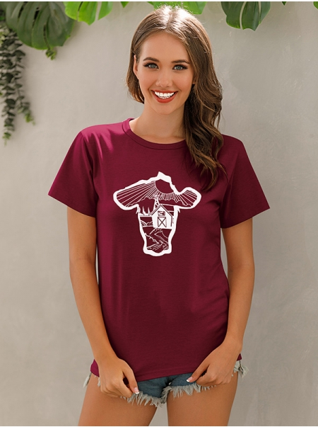 Dresswel Women Idyllic Pastoral Life Creative Graphic Print Casual T-shirts Tops