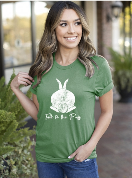 Dresswel Women Talk To The Puff Letter Rabbit Printed Easter Day T-shirts Tops