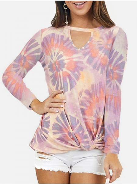 Dresswel Women Tie Dye Printed Keyhole Neck Long Sleeve Knotted Hem T-Shirts Tops