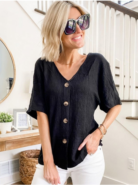 Dresswel Women Solid Color V Neckline Buttons Shirts Short Sleeve Casual Blouse Tops
