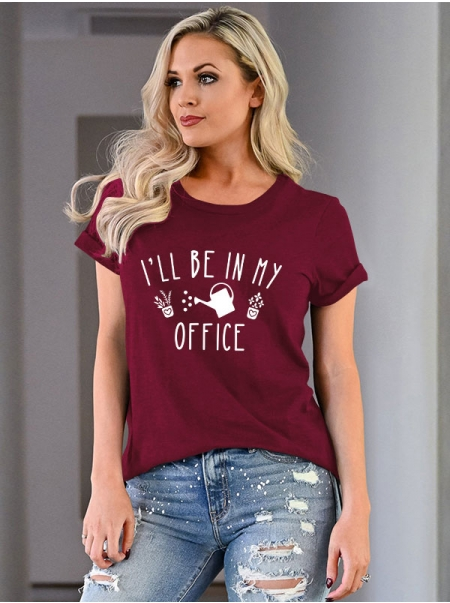 Dresswel Women I'll Be In My Office Letter Watering Can Graphic Print T-shirt Top