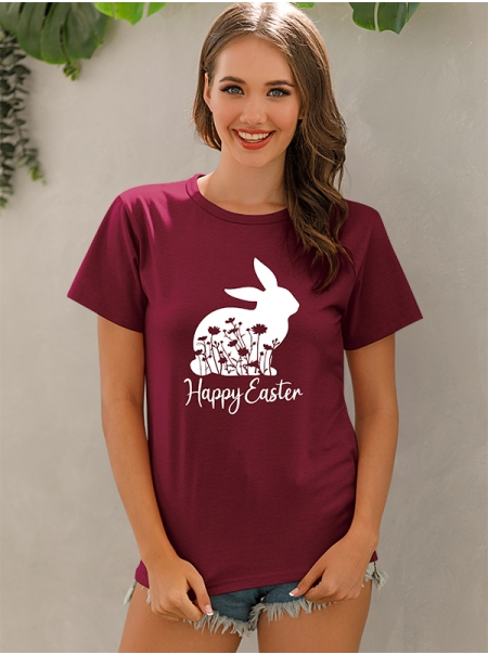 Dresswel Women Happy Easter Letter Rabbit Graphic Print Short Sleeve T-shirt Top