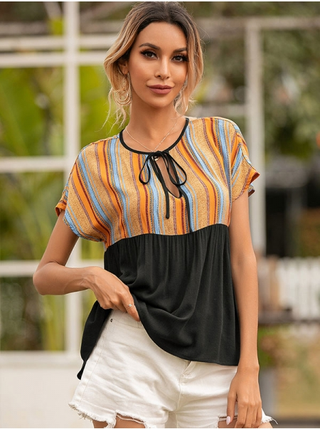 Dresswel Women Colorblock Strappy Ruched Keyhole Crew Neck Short Sleeves Blouse Tops