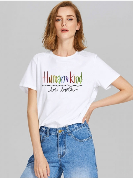 Dresswel Women Human Kind be Both Letter Multicolor Print Crew Neck Stylish T-Shirts Tops