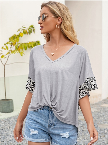 Dresswel Women Leopard Printing Splicing Twisted Hem Fluted Sleeves V Neck T-shirt Tops