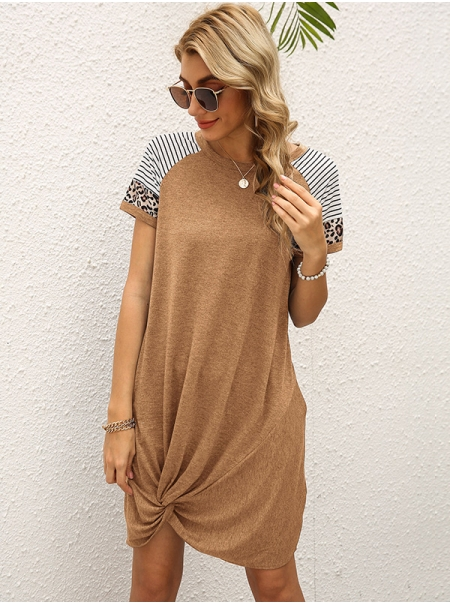 Dresswel Women Round Neck Short Sleeve Leopard Stripe Colorblock Knotted Hem Mini Dress