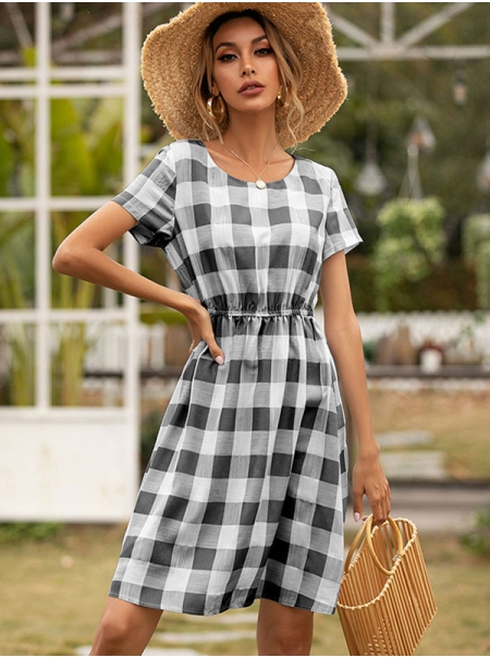 Dresswel Women Checkered Elasticized Waistline Crew Neck Short Sleeve Pleated Mini Dress