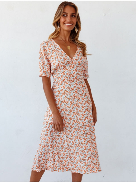 Dresswel Women V Neck Short Sleeve Floral Printed Comfy Casual Slim Midi Dress
