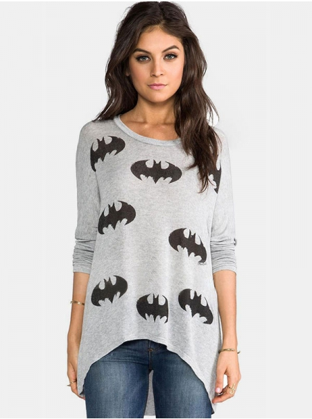 Dresswel Women Bat Graphic Print Crwe Neck Long Sleeve Loose Fitting T-shirt Top