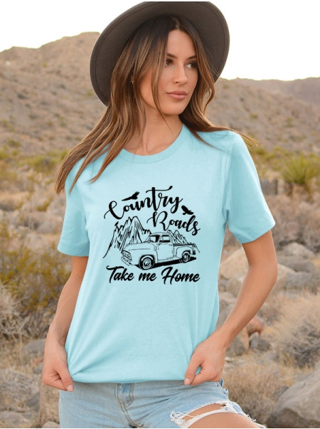 Dresswel Women Country Roads Take Me Home Letter Mountain Truck Printed Tee Tops