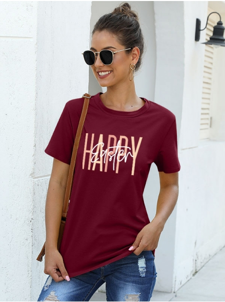 Dresswel Women Happy Easter Letter Gradient Print Crew Neck Stylish Easter T-Shirts Tops