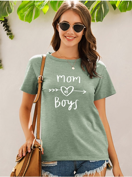 Dresswel Women Mom Of Boys Letter Heart Graphic Printed Crew Neck T-shirts Tops