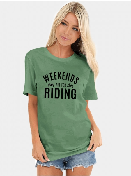 Dresswel Women Weekends Are For Riding Letter Motorcycles Print Daily T-Shirts Tops