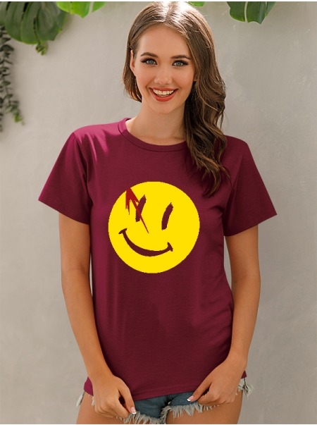 Dresswel Women Yellow Smiley Face Graphic Print Trendy Short Sleeve T-shirt Top