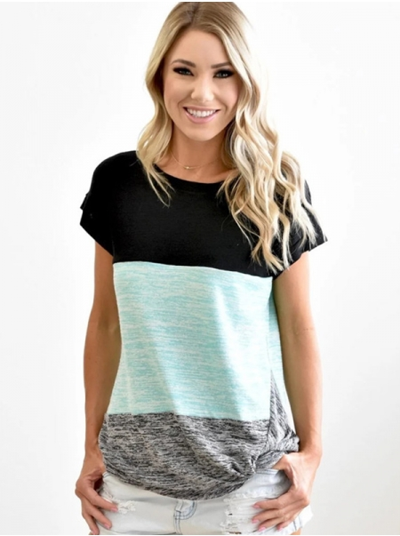 Dresswel Women Round Neck Short Sleeve Knotted Hem Colorblock Comfy T-Shirts Tops