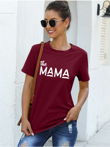 Dresswel Women The MAMA Letter Crew Neck Short Sleeve Mother`s Day Gift T-shirt Tops