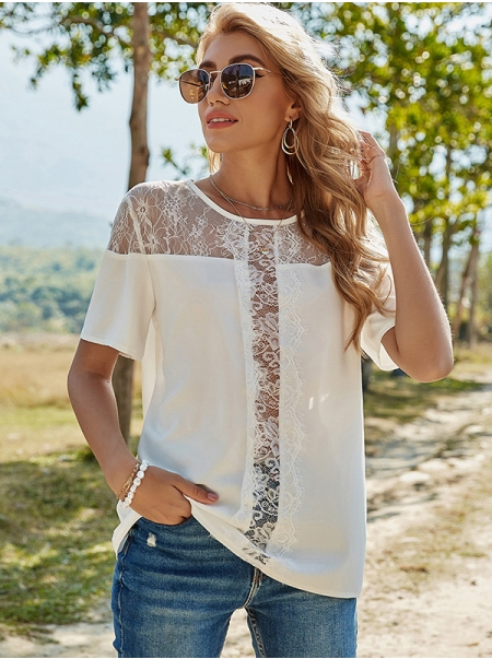 Dresswel Women Solid Color Lace Spliced Keyhole Back Short Sleeves Fashion T-Shirts Tops