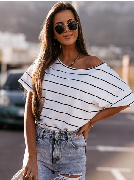 Dresswel Women Horizontal Stripes One Shoulder Short Sleeve Novelty T-Shirts Tops