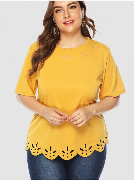 Dresswel Women Solid Color Hollow Out Wavy Hem Short Sleeve Crew Neck T-shirt Tops