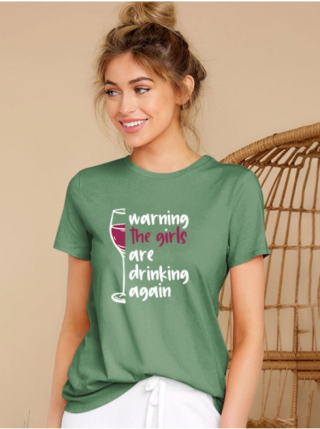 Dresswel Women The Girls are Drinking Again Craft Beer Short Sleeve T-shirts Top
