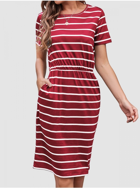 Dresswel Women Horizontal Stripe Printed Round Neck Short Sleeve Slim Casual Mini Dress
