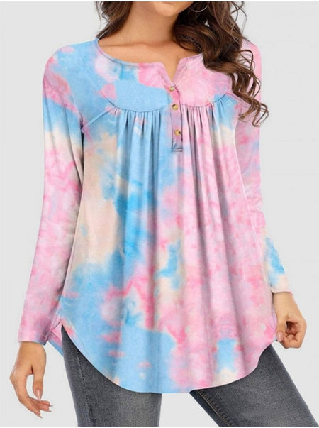 Dresswel Women Tie-Dyed Ruching Button Decorative Curved Hem Long Sleeve T-shirt Top