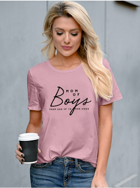 Dresswel Women Mom Of Boys From Son Up To Son Down Letter Print Crew Neck Tee Tops