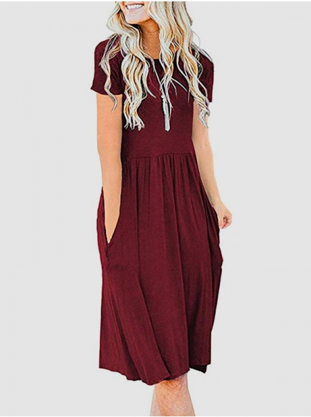 Women Short Sleeve Solid Color Round Neck Pocket High Waist Pleated Midi Dress