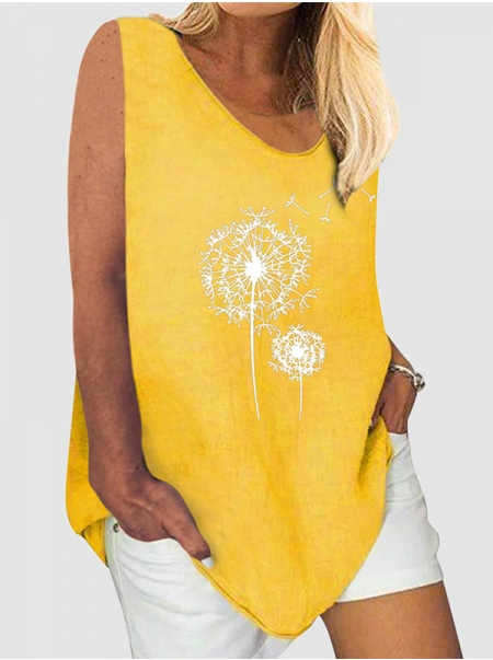 Dresswel Women V-neck Vest Dandelion Print Plus Size Sleeveless Graphic Tank Tops