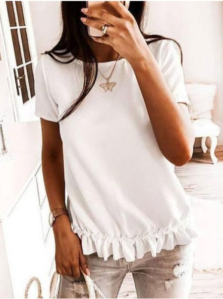 Dresswel Women Solid Color Crew Neck Pleated Ruffled Hem Simple Fashion T-Shirts Tops