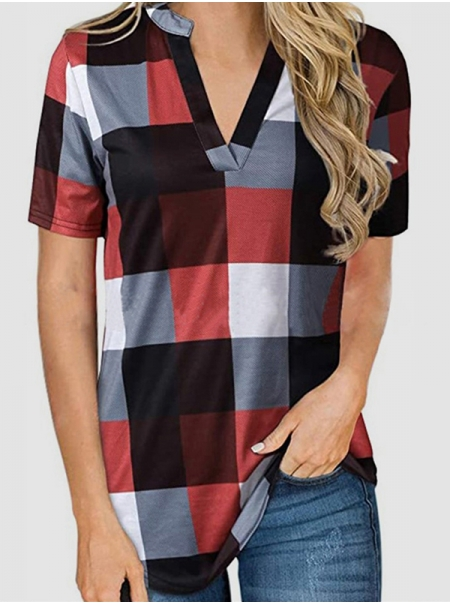 Dresswel Women Checkered Colorblock V Neck Short Sleeve Loose Fit Tunic Blouse Tops