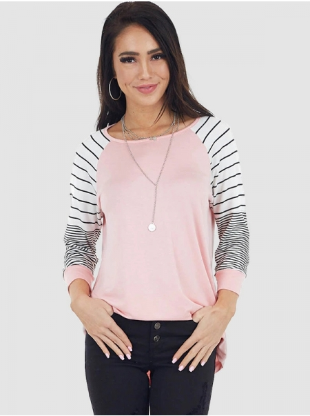 Dresswel Women Round Neck Stripe Colorblock Long Sleeve Novelty Loose Fit T-Shirts Tops