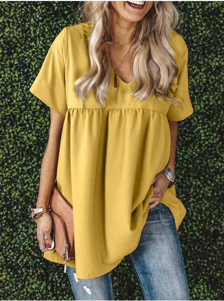 Dresswel Women Solid Color Ruching Stitching V Neck Short Sleeve T-shirt Tops