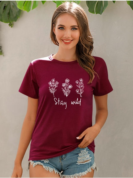 Dresswel Women Crew Neck Stay Wild Letter Flower Printed Loose Fit T-Shirts Tops