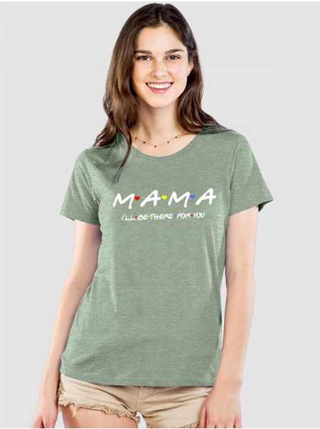 Dresswel Women Mama Ill Be There For You Letter Peach Hearts Printing T-shirt Tops