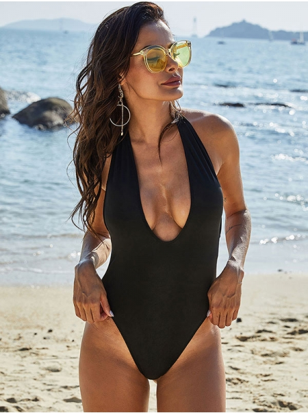 Dresswel Women Halter Neck Solid Color Sexy Backless Black One Piece Swimsuit