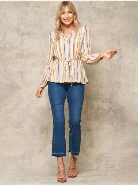 Dresswel Women Colorful Striped Button Down Drawstring Waist Long Sleeve Shirt Tops