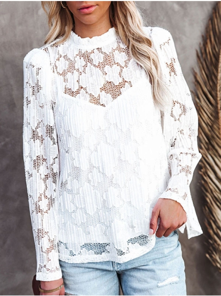 Dresswel Women Ask And Receive Plisse Lace Hollow Out Blouse