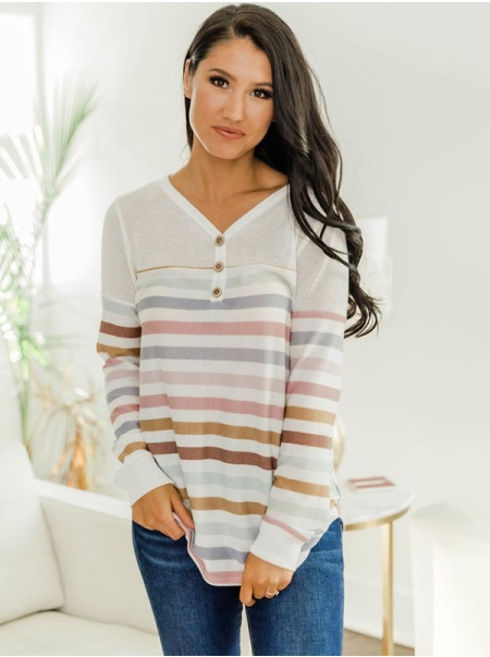 Dresswel Women Multi Striped Button V-neck Long Sleeve Pullover Blouse Tops