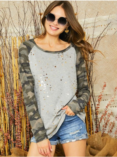 Dresswel Women Round Neck Camouflage Star Print Raglan Long Sleeve Shirt Top