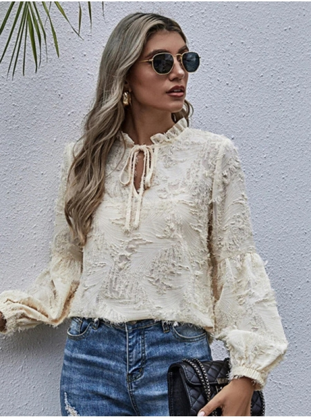 Dresswel Women Solid Color Tie Neck Frill Distressed Blouse Top