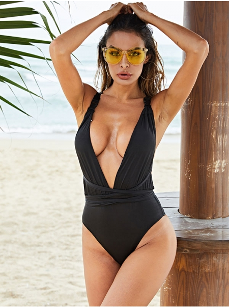 Dresswel Women Solid Color Deep V Neck Backless Strappy Black One Piece Swimsuit