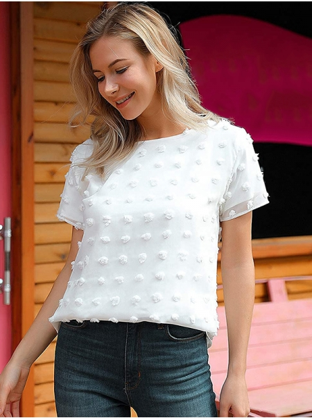 Dresswel Women Solid Color Swiss Dots Round Neck Short Sleeve Chiffon Blouse Tops