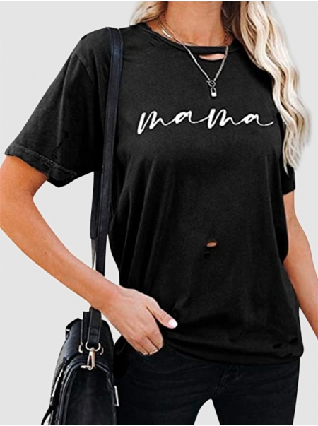Dresswel Women Mama Letter Printing Hollow Out Crew Neck Short Sleeve T-shirt Tops