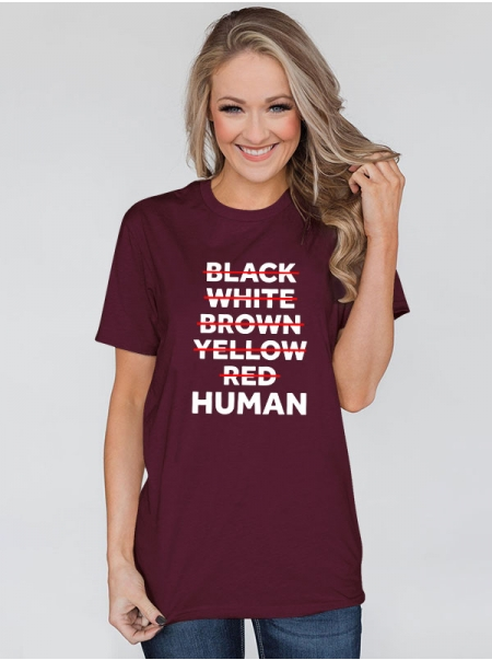 Dresswel Women Black White Brown Yellow Red Human Printed Soft Short Sleeve T-Shirts Tops