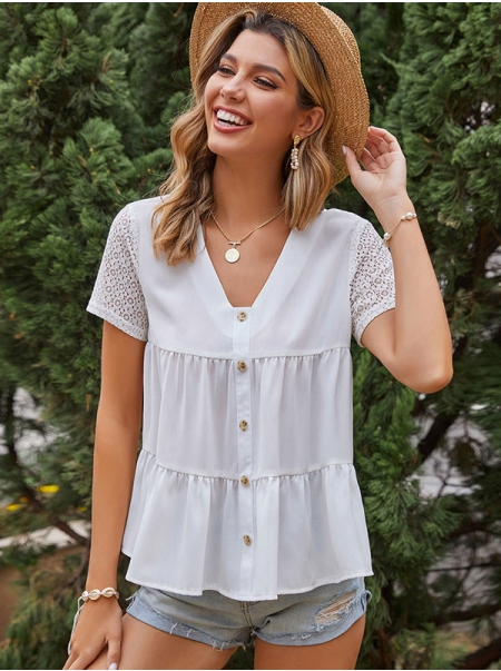 Dresswel Women Solid Color Button Lace Cutout Stitching Ruched Hem V Neck Blouse Top