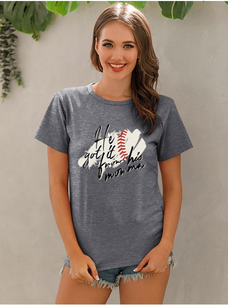 Dresswel Women He Got It From His Momma Letter Pattern Printed T-Shirts Tops